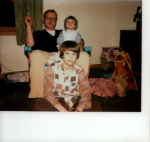 A 70's Little Xmas (Smoking father, brilliant budding artist on lap, and older brother in hipster shirt)